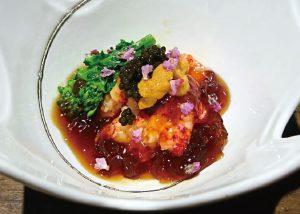 【おでん 俺のだし】オマール海老と菜の花のポン酢ジュレ掛け キャビアと雲丹添え